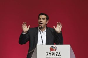 Alexis Tsipras, opposition leader and head of radical leftist Syriza party, delivers a speech during a party congress in Athens