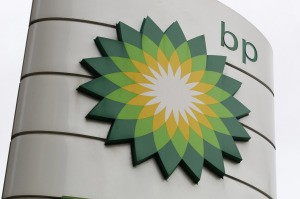 A BP logo is seen on a petrol station in London