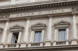 Italy's national bank, the Banca D'Italia building on Via Nazionale in Rome, Italy.. Image shot 2011. Exact date unknown.