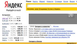 Яндекс.Новости помогает узнать котировки акций